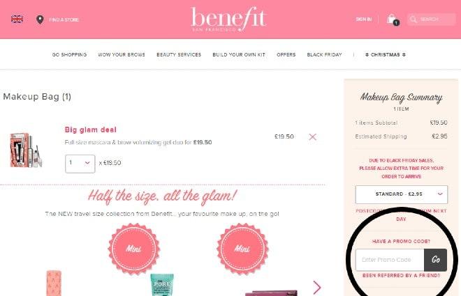 benefit promo code