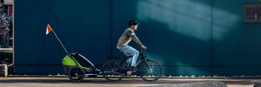 Es wird wärmer! Aktiv mit Kind dank den bis 12% reduzierten Fahrradanhängern bei fun-sport-vision